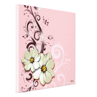 Ornate Floral Flourish | pink Canvas Prints