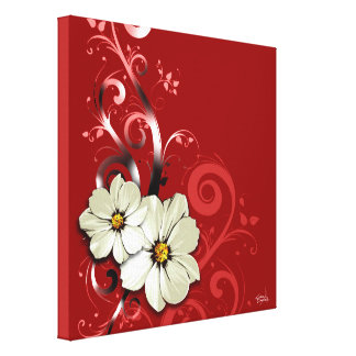 Ornate Floral Flourish | red Stretched Canvas Print
