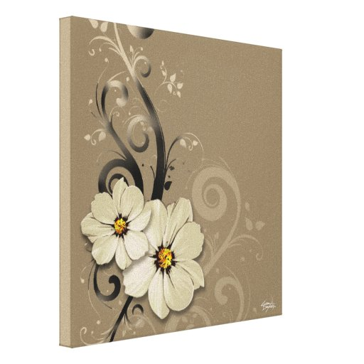 Ornate Floral Flourish | taupe Stretched Canvas Print