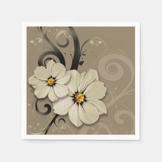 Ornate Floral Flourish | taupe Paper Napkins