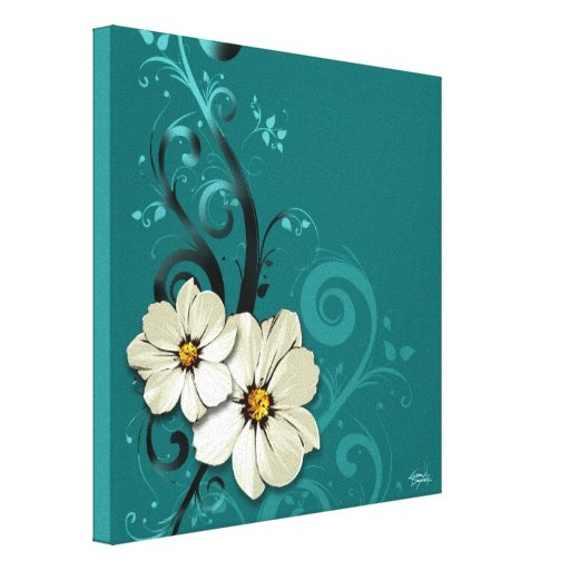 Ornate Floral Flourish | turquoise Stretched Canvas Prints