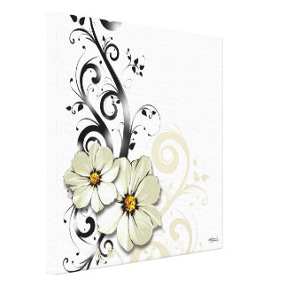 Ornate Floral Flourish | white Stretched Canvas Print
