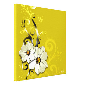 Ornate Floral Flourish | yellow Gallery Wrapped Canvas