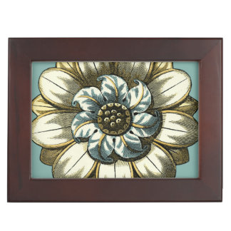 Ornate Floral Medallion on Light Blue Background Keepsake Boxes