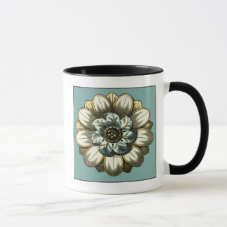 Ornate Floral Medallion on Light Blue Background Mug