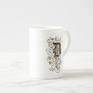 Ornate Floral Monogram 'D' Tea Cup