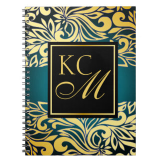 Ornate Floral Monogram Journal | teal