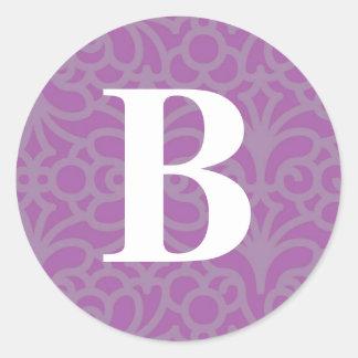 Ornate Floral Monogram - Letter B Classic Round Sticker
