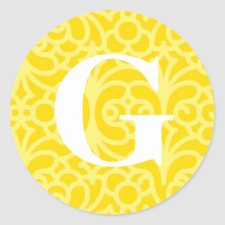 Ornate Floral Monogram - Letter G Classic Round Sticker