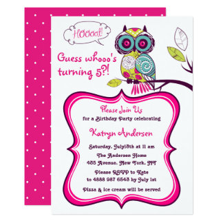 Ornate Floral Owl Hot Pink Kids Birthday Party Card