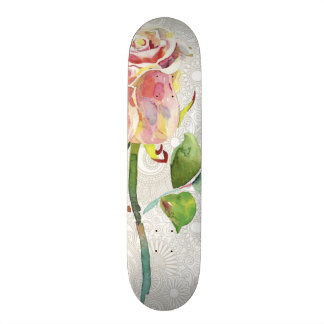Ornate Floral Pattern With Pink Watercolor Rose Skate Board Deck