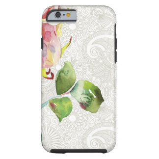 Ornate Floral Pattern With Pink Watercolor Rose Tough iPhone 6 Case