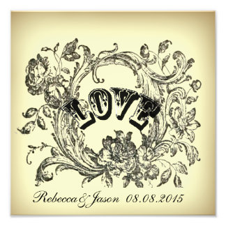 Ornate Flourish Swirls Vintage Wedding Photo Print