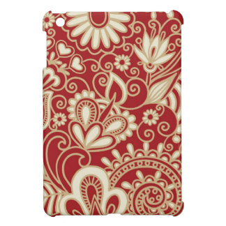 ornate flowers on red background case for the iPad mini