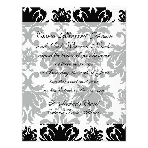ornate formal black white damask personalized invites