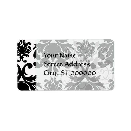 ornate formal black white damask label