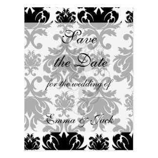ornate formal black white damask postcard