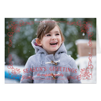 Ornate Frame Holiday Greeting Card - Holly
