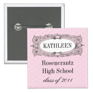 Ornate Frame Pink Graduation 2 Inch Square Button