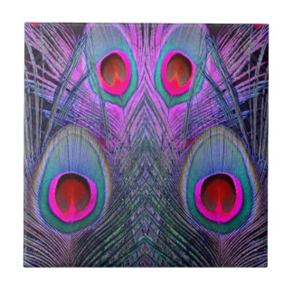 Ornate Fuchsia-Purple  Peacock Feathers GIFTS Ceramic Tiles