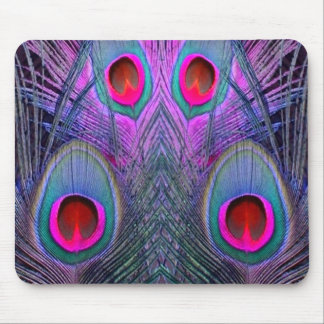 Ornate Fuchsia-Purple  Peacock Feathers GIFTS Mouse Pad