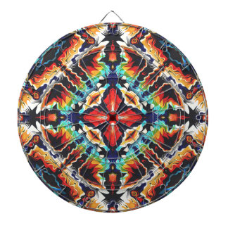 Ornate Geometric Colors Dartboard With Darts