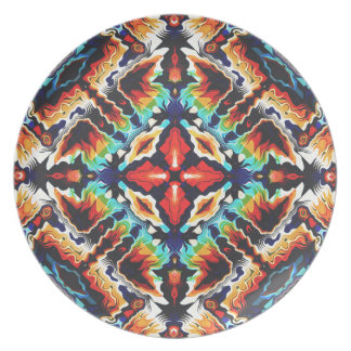 Ornate Geometric Colors Party Plate