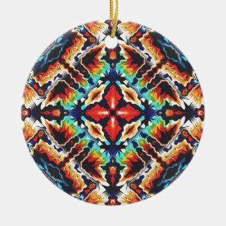 Ornate Geometric Colors Round Ceramic Ornament