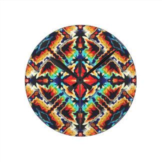 Ornate Geometric Colors Round Clock