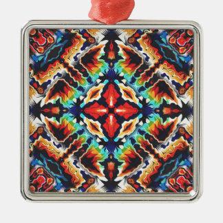 Ornate Geometric Colors Silver-Colored Square Ornament