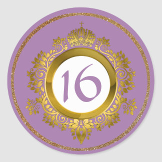 Ornate Gold and Violet Sweet 16 Birthday Stickers