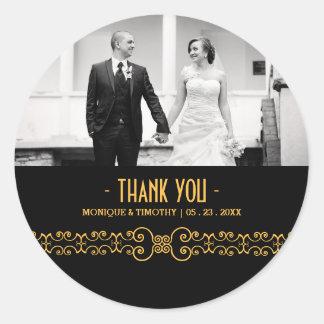 Ornate Gold Belt - Gold Black Wedding Thank You Round Sticker