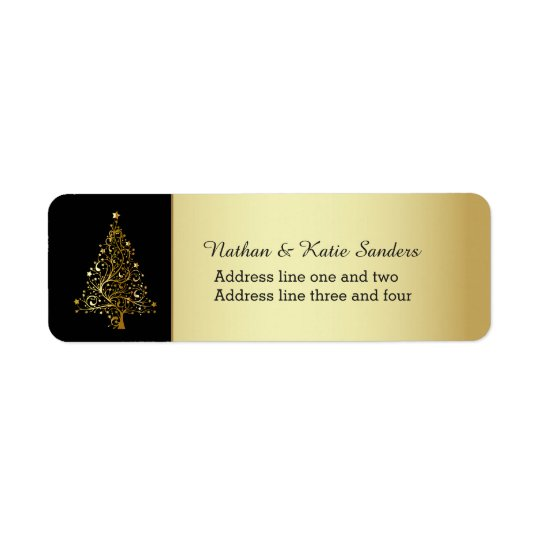 Ornate Gold Christmas Tree Return Address Label