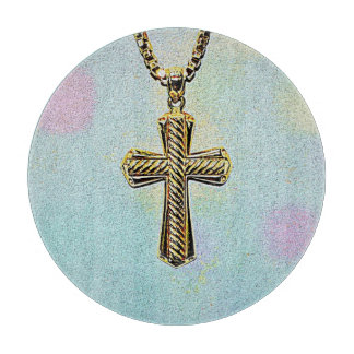 Ornate Gold Cross and Chain Cutting Boards