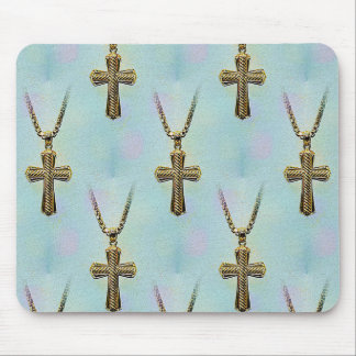 Ornate Gold Cross and Chain Mousepads