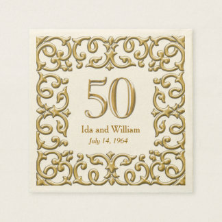 Ornate Gold Frame 50th Anniversary Disposable Napkin