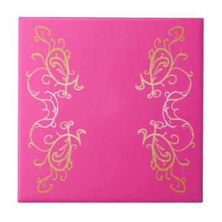 Ornate Gold Scroll Ornamental Pink Accent Tile