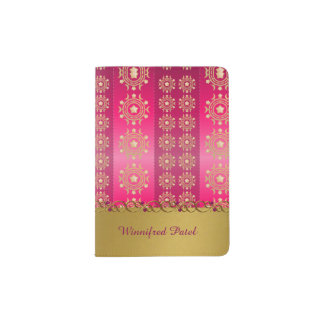 Ornate Gold Tone Moon and Stars Passport Holder