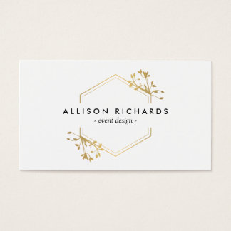 Ornate Gold Vine and Leaf Emblem Business Card