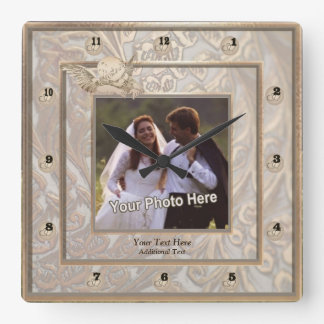 Ornate Gold Wedding Keepsake Photo Wall Clock