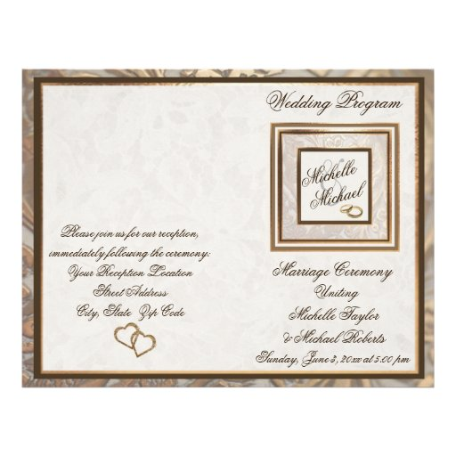Ornate Gold Wedding Program Flyer – Version Two