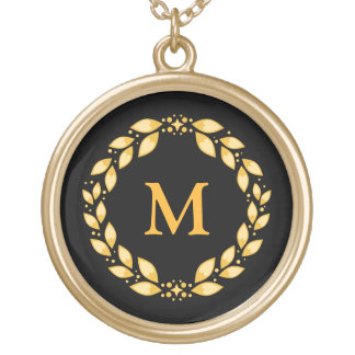 Ornate Golden Leaved Roman Wreath Monogram - Black Gold Plated Necklace