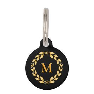 Ornate Golden Leaved Roman Wreath Monogram - Black Pet Name Tag