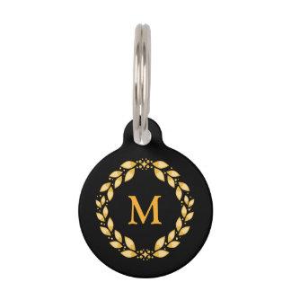 Ornate Golden Leaved Roman Wreath Monogram - Black Pet Tag