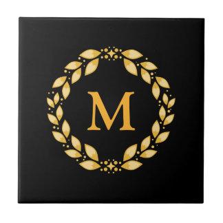 Ornate Golden Leaved Roman Wreath Monogram - Black Tile