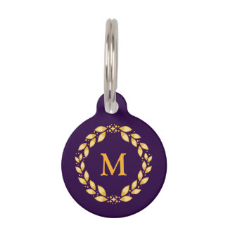 Ornate Golden Leaved Roman Wreath Monogram -Purple Pet ID Tags