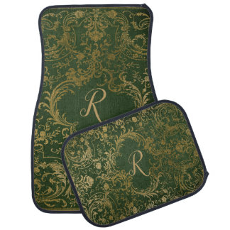 Ornate Green and Gold Monogrammed Car Mat Set