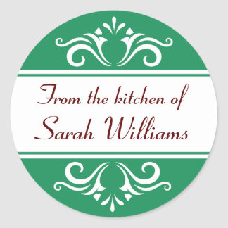Ornate green and white from the kitchen of labels sticker