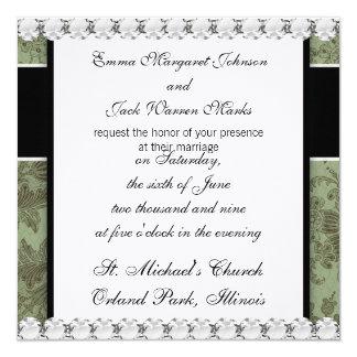 ornate green floral damask design card