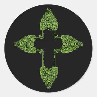 Ornate Green Gothic Cross Classic Round Sticker